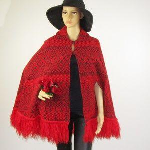 Jackets & Blazers - Cuzco Palace Vintage Poncho Red Black Fringe OSFM